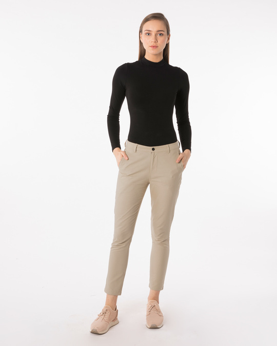 Shop French Beige Lightweight Slim Oxford Pants-Full