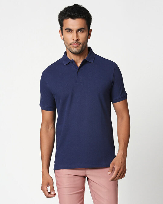 Shop French Navy Classic Polo-Front