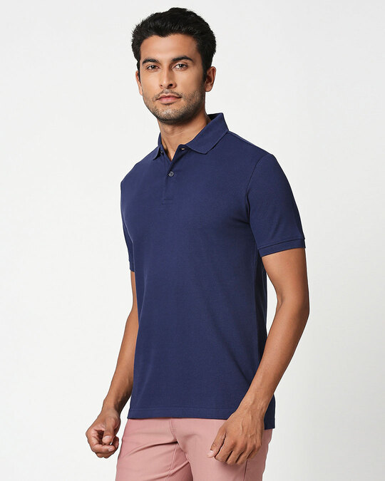 Shop French Navy Classic Polo-Back