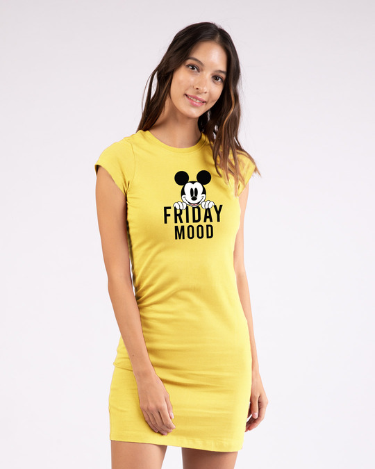 Shop Friday Mickey Cap Sleeve Printed T-Shirt Dress (DL)-Front