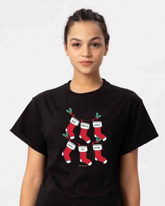 Shop Friends Christmas Socks Boyfriend T-Shirt (FRL)-Front