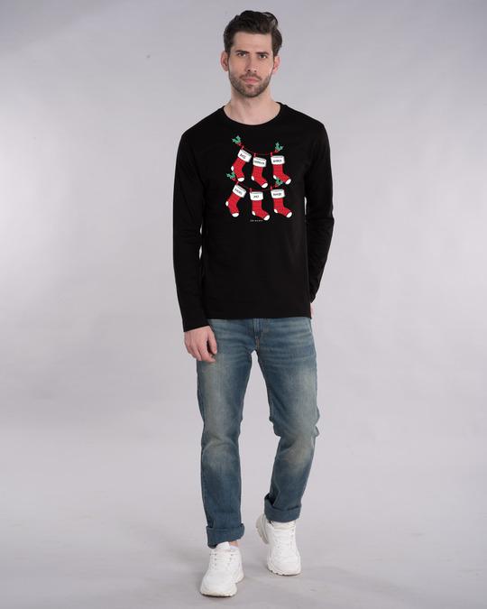 Shop Friends Christmas Socks Full Sleeve T-Shirt (FRL)-Design