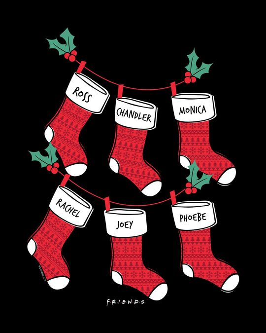 Shop Friends Christmas Socks Full Sleeve T-Shirt (FRL)-Full