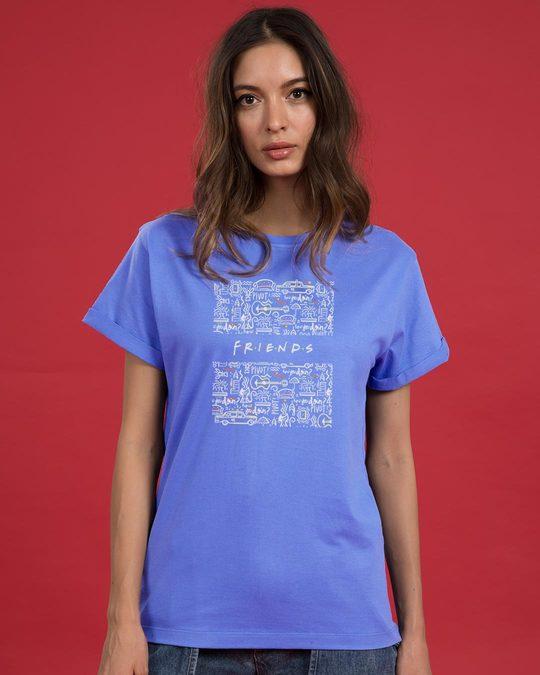 Shop Friends Doodle Boyfriend T-Shirt (FRL)-Front