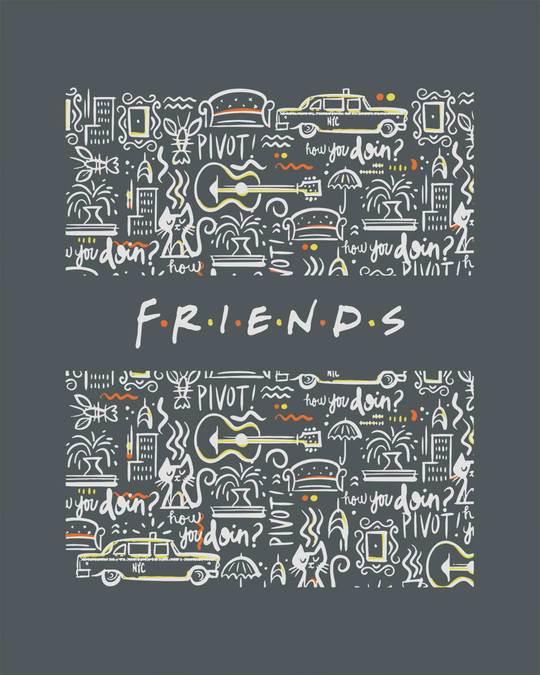 Shop Friends Doodle Scoop Neck Full Sleeve T-Shirt (FRL)-Full
