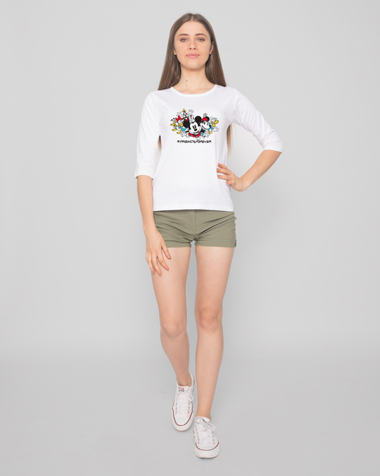 Shop Friends Forever Mickey Round Neck 3/4th Sleeve T-Shirt (DL)-Design