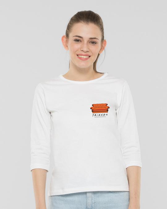 Shop Friends Pocket Sofa Round Neck 3/4th Sleeve T-Shirt (FRL) White-Back