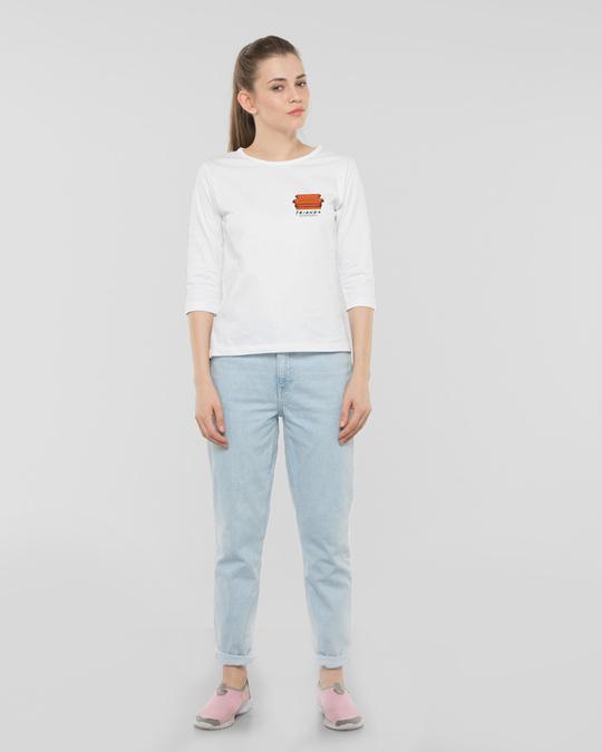 Shop Friends Pocket Sofa Round Neck 3/4th Sleeve T-Shirt (FRL) White-Full