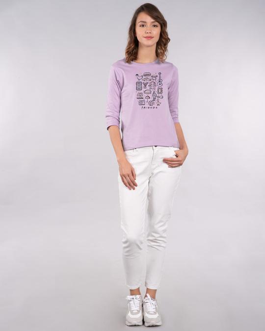 Shop Friends Sketch Doodle 3/4th Sleeve T-Shirt (FRL)-Full