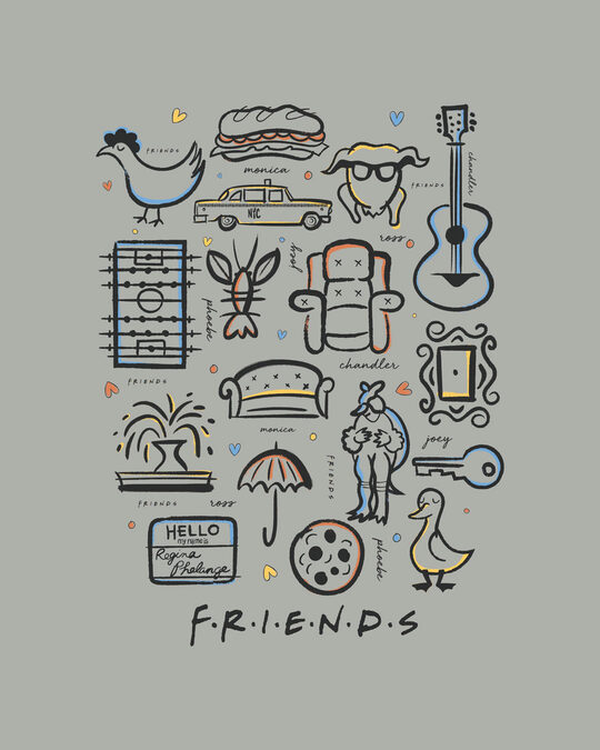 Shop Friends Sketch Doodle Half Sleeve T-Shirt (FRL)-Full