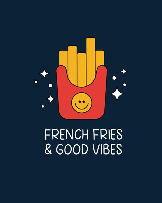 Shop Fries And Vibes Boyfriend T-Shirt Navy Blue