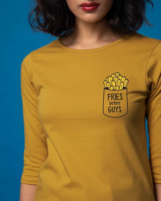 Shop Fries Before Guys Round Neck 3/4th Sleeve T-Shirt-Front