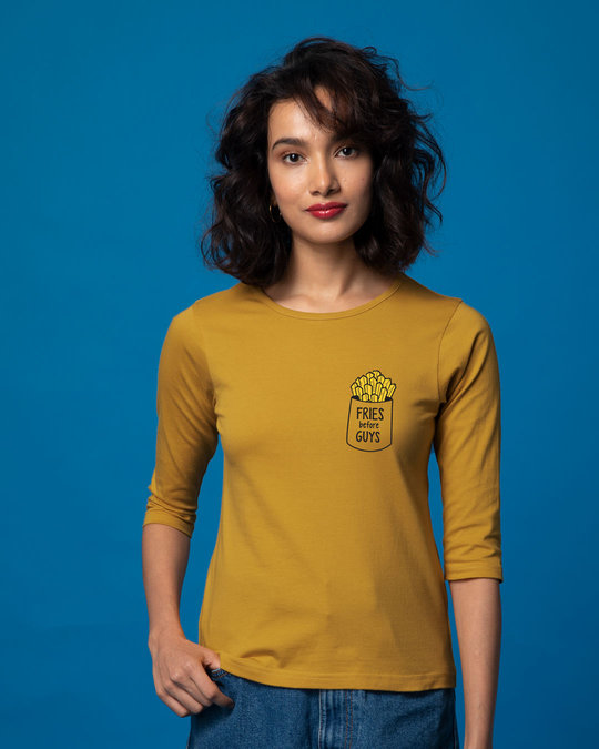 Shop Fries Before Guys Round Neck 3/4th Sleeve T-Shirt-Back