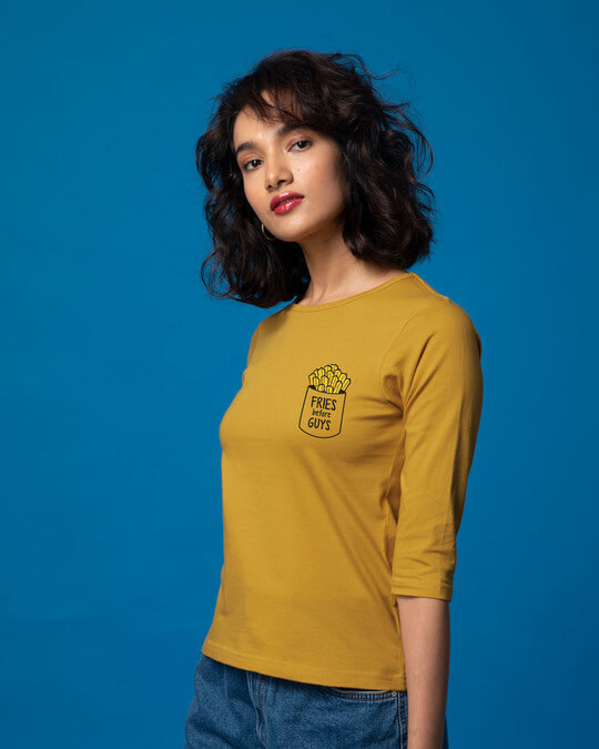 Shop Fries Before Guys Round Neck 3/4th Sleeve T-Shirt-Design