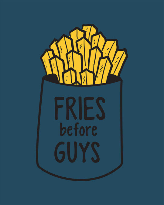 Shop Fries Before Guys Round Neck 3/4th Sleeve T-Shirt