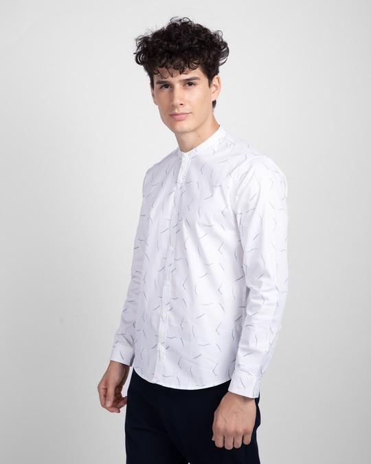 Shop Frost White Mandarin Collar Printed Shirt-Back