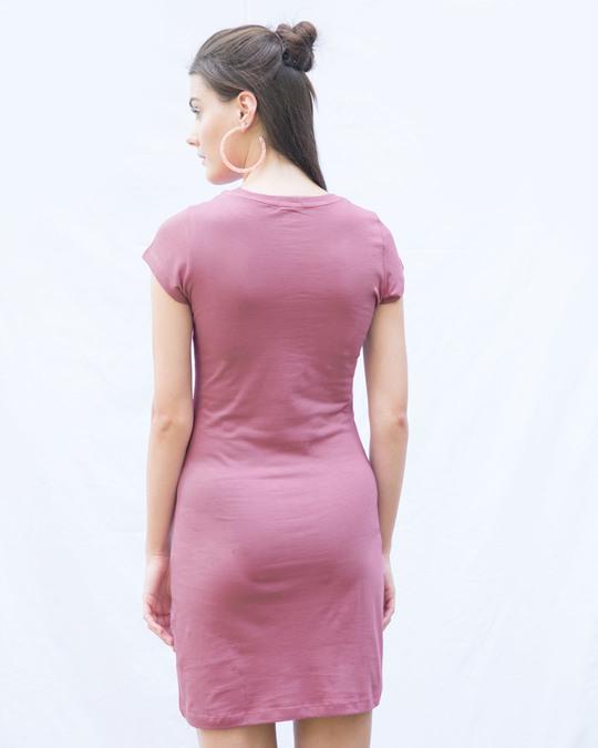 Shop Frosty Pink Cap Sleeve Plain T-Shirt Dress-Back