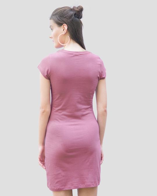 Shop Frosty Pink Cap Sleeve Plain T-Shirt Dress-Full