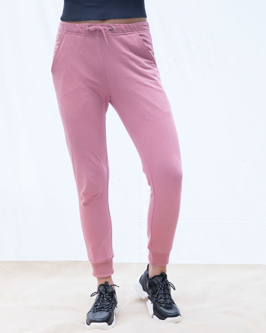 Shop Frosty Pink Casual Jogger Pants-Front