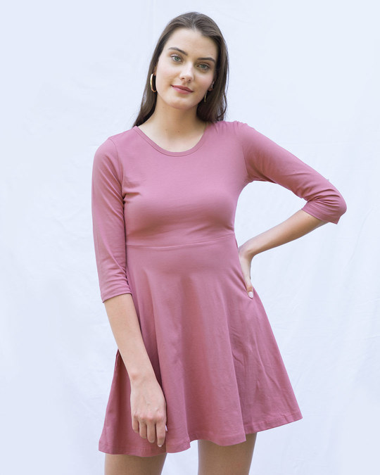 Shop Frosty Pink Flared Dress-Front