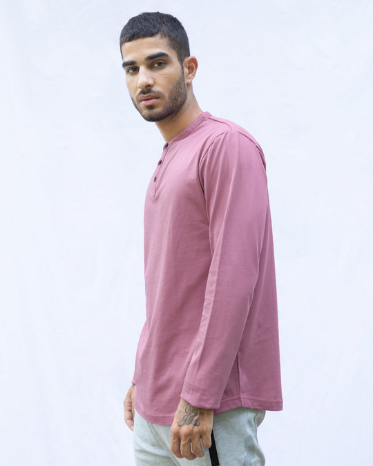Shop Frosty Pink Full Sleeve Henley T-Shirt-Back
