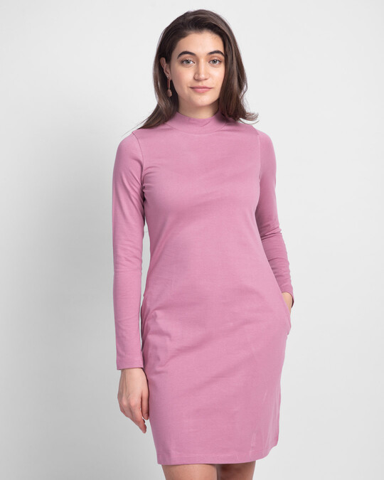 Shop Frosty Pink High Neck Pocket Dress-Front