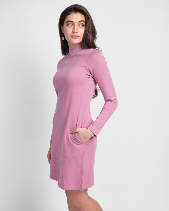 Shop Frosty Pink High Neck Pocket Dress-Back