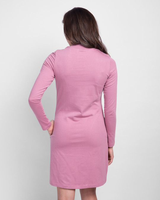 Shop Frosty Pink High Neck Pocket Dress-Design
