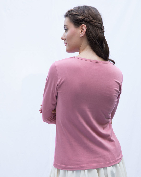 Shop Frosty Pink Round Neck 3/4th Sleeve T-Shirt-Full
