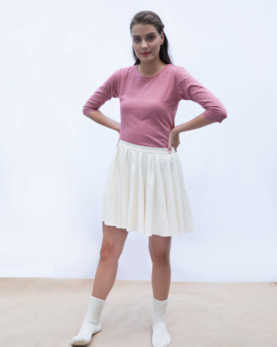 Shop Frosty Pink Round Neck 3/4th Sleeve T-Shirt