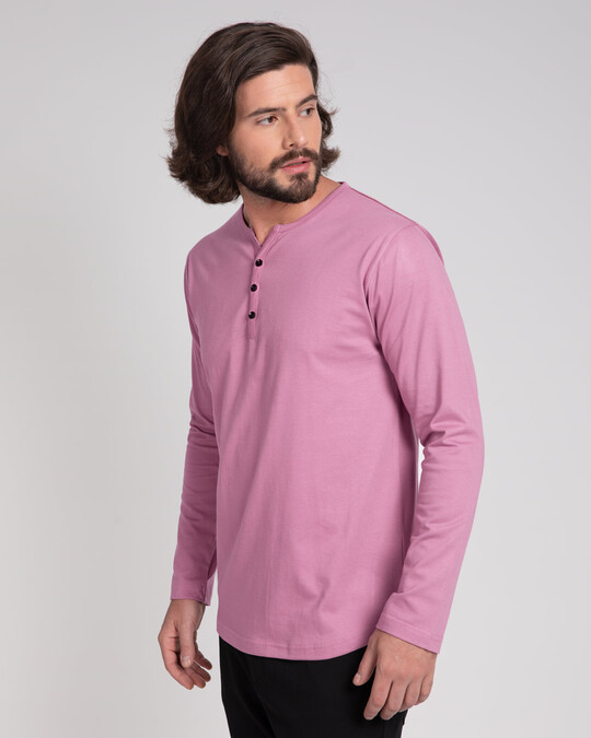 Shop Frosty Pink V-Neck Henley T-Shirt-Back