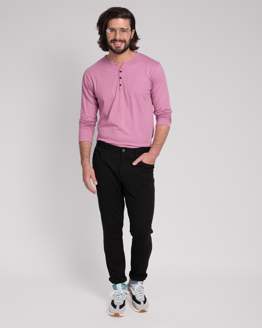 Shop Frosty Pink V-Neck Henley T-Shirt-Full