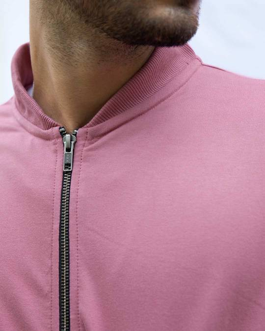 Shop Frosty Pink Zipper Bomber Jacket
