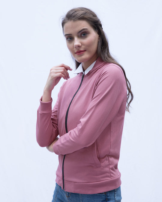 Shop Frosty Pink Zipper Bomber Jacket-Back