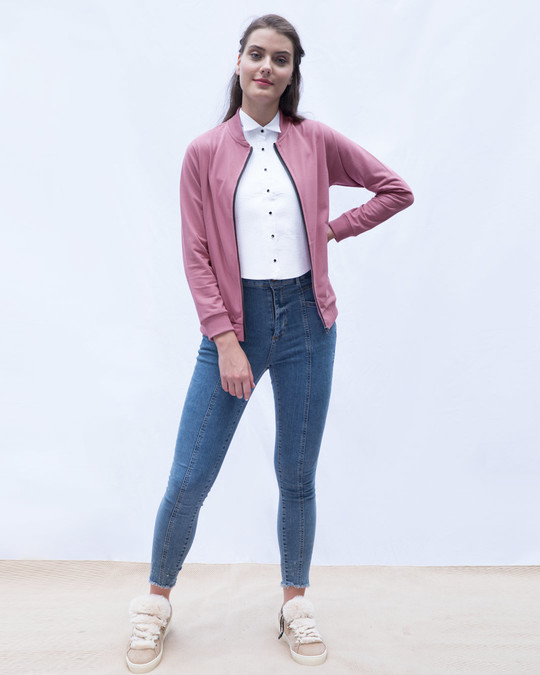Shop Frosty Pink Zipper Bomber Jacket-Full