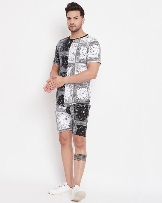 Shop 50/50 Paisley Printed Tshirt And Shorts Combo Set-Back
