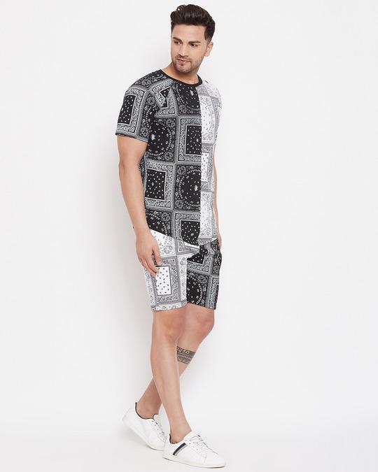 Shop 50/50 Paisley Printed Tshirt And Shorts Combo Set-Design