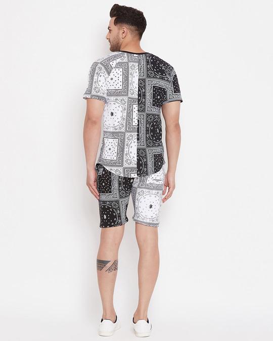 Shop 50/50 Paisley Printed Tshirt And Shorts Combo Set-Full