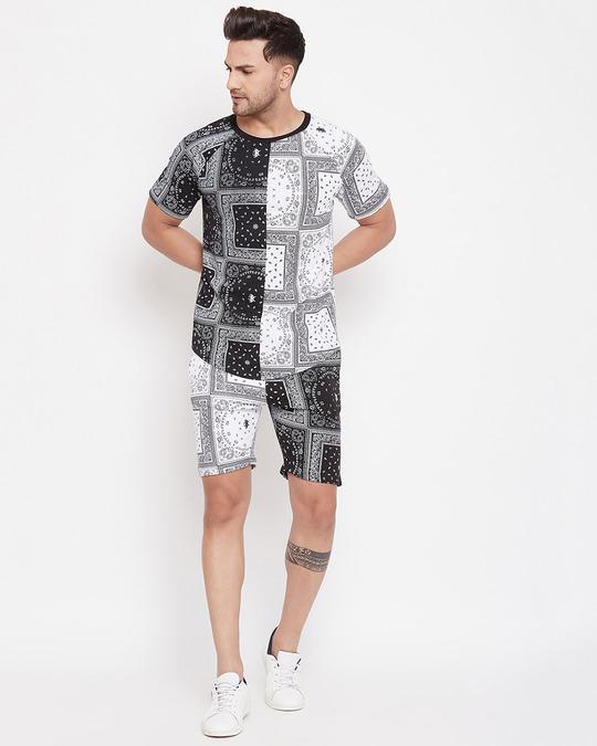 Shop 50/50 Paisley Printed Tshirt And Shorts Combo Set