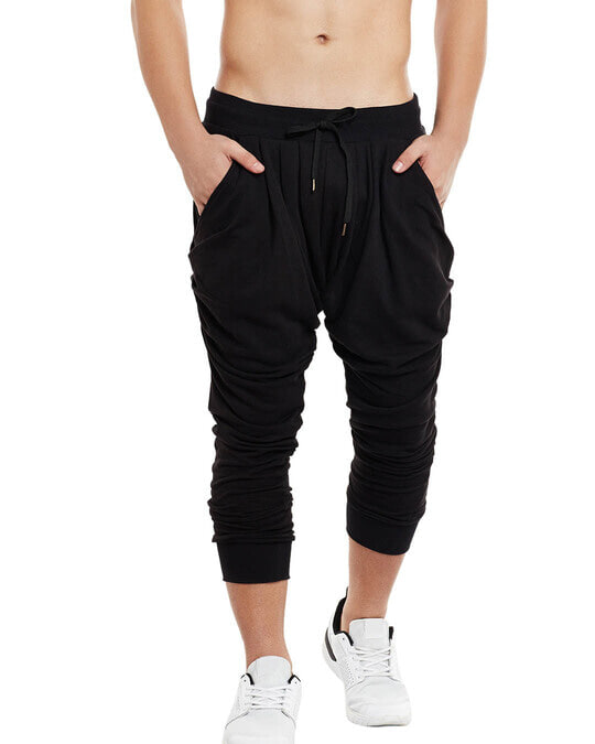 Shop All Black Dhoti Joggers-Front