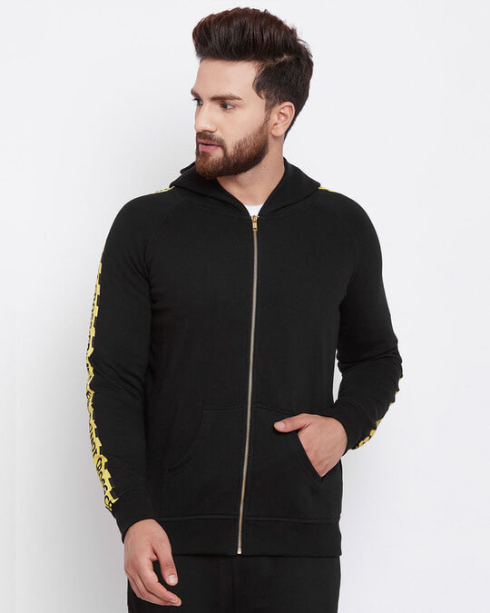 Shop Black Caution Taped Hoodie-Front