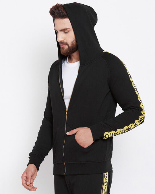 Shop Black Caution Taped Hoodie-Back