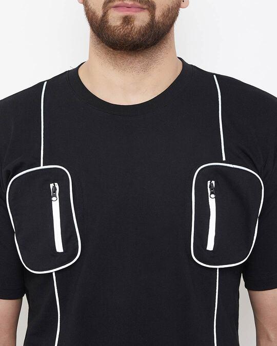 Shop Black Chest Pocket Reflective Piping Tshirt