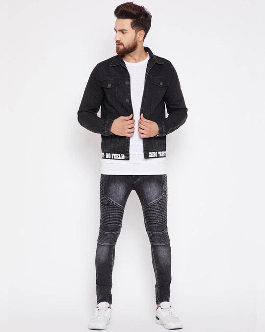 Shop Black Denim Taped Jacket-Back