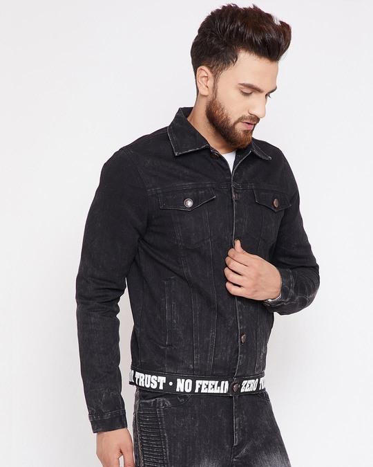 Shop Black Denim Taped Jacket-Full