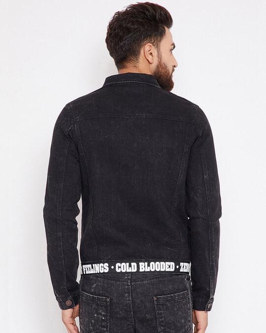Shop Black Denim Taped Jacket