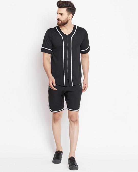 Shop Black Mesh Baseball Summer Suit-Front