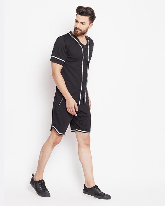 Shop Black Mesh Baseball Summer Suit-Back