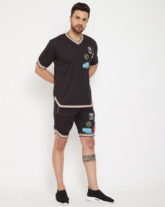Shop Black Mesh Tattooed Rainbow Taped Shorts-Full