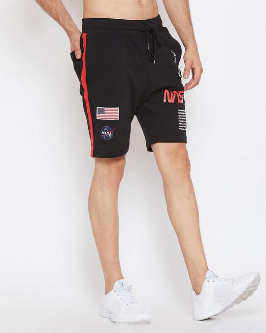 Shop Black Nasa Shorts-Back